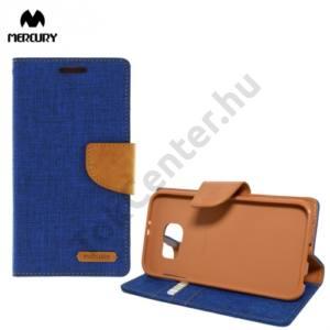 Samsung Galaxy S6 (SM-G920) MERCURY Canvas Diary tok álló (FLIP, mágneses, oldalra nyíló, asztali tartó funkció, textil hatás) KÉK