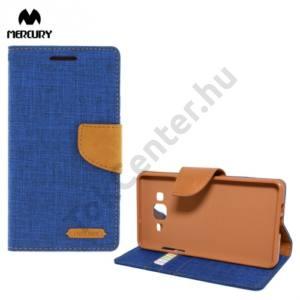Samsung Galaxy A5 (SM-A500F) MERCURY Canvas Diary tok álló (FLIP, mágneses, oldalra nyíló, asztali tartó funkció, textil hatás) KÉK