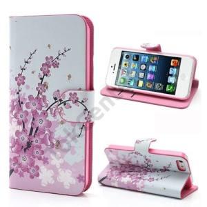 Apple iPhone 5 Tok álló, bőr (FLIP, mágneses, oldalra nyíló, bankkártya tartó, asztali tartó funkció, virágminta) FEHÉR