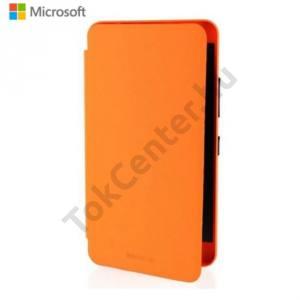 Microsoft Lumia 640 XL Műanyag telefonvédő (FLIP, akkufedél, oldalra nyíló, bankkártya tartó) NARANCS