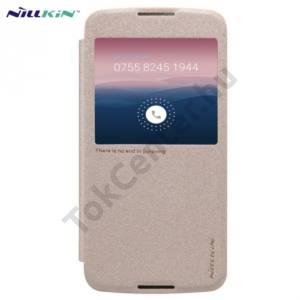 Alcatel Idol 3 5.5`` (OT-6045Y) NILLKIN SPARKLE műanyag telefonvédő (mikroszálas bőr flip, oldalra nyíló, hívószámkijelzés, S-View Cover) ARANY
