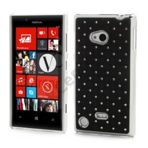 Nokia Lumia 720 Műanyag telefonvédő (strasszkő) FEKETE