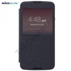 Alcatel Idol 3 5.5`` (OT-6045Y) NILLKIN SPARKLE műanyag telefonvédő (mikroszálas bőr flip, oldalra nyíló, hívószámkijelzés, S-View Cover) FEKETE