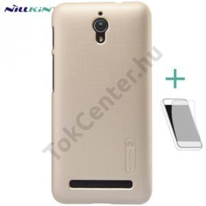 Asus Zenfone C (ZC451CG) NILLKIN SUPER FROSTED műanyag telefonvédő (gumírozott, érdes felület, képernyővédő fólia, tisztítókendő) ARANY