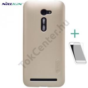 Asus Zenfone 2 (ZE500CL) NILLKIN SUPER FROSTED műanyag telefonvédő (gumírozott, képernyővédő fólia, tisztítókendő) ARANY