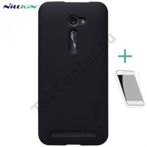 Asus Zenfone 2 (ZE500CL) NILLKIN SUPER FROSTED műanyag telefonvédő (gumírozott, érdes felület, képernyővédő fólia, tisztítókendő) FEKETE