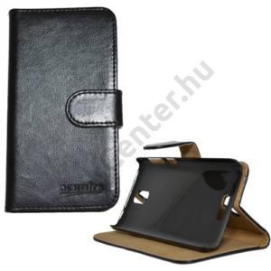 Lenovo S660 Tok álló, bőr (FLIP, mágneses, oldalra nyíló, bankkártya tartó, asztali tartó funkció) FEKETE