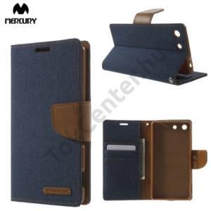 Sony Xperia M5 MERCURY Canvas Diary tok álló (FLIP, mágneses, oldalra nyíló, asztali tartó funkció, textil hatás) SÖTÉTKÉK