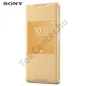 Sony Xperia Z5 Tok álló, bőr (FLIP, oldalra nyíló, Smart window) ARANY