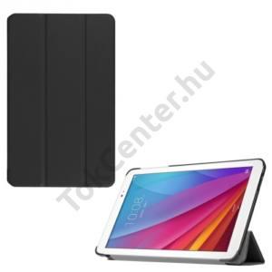 Huawei Mediapad T1 10 (T1-A21w) Műanyag telefonvédő (bőr flip, TRIFOLD asztali tartó funkció) FEKETE