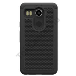 LG Nexus 5X (H791) Defender műanyag telefonvédő (közepesen ütésálló, gumi / szilikon belső, méhsejt minta) FEKETE