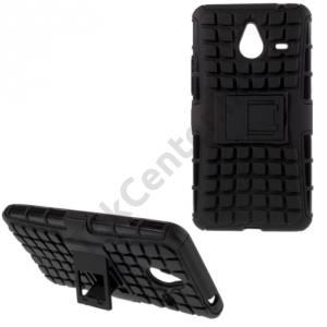 Microsoft Lumia 640 XL Műanyag telefonvédő (gumi / szilikon belső, kitámasztó, 3D kockaminta) FEKETE