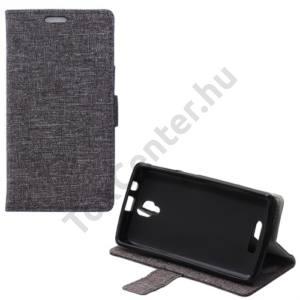 Lenovo A1000 Tok álló, bőr (FLIP, mágneses, oldalra nyíló, asztali tartó funkció, textil hatás) SZÜRKE