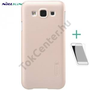 Samsung Galaxy E5 (SM-E500) NILLKIN SUPER FROSTED műanyag telefonvédő (gumírozott, érdes felület, képernyővédő fólia, tisztítókendő) ARANY