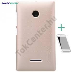 Microsoft Lumia 435 NILLKIN SUPER FROSTED műanyag telefonvédő (gumírozott, érdes felület, képernyővédő fólia, tisztítókendő) ARANY