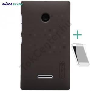 Microsoft Lumia 435 NILLKIN SUPER FROSTED műanyag telefonvédő (gumírozott, érdes felület, képernyővédő fólia, tisztítókendő) BARNA