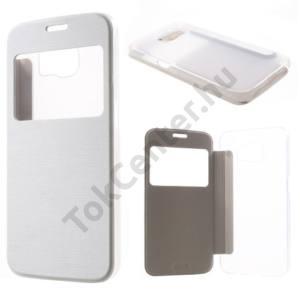 Samsung Galaxy S6 (SM-G920) Műanyag telefonvédő (bőr flip, oldalra nyíló, átlátszó hátlap, S-View Cover, szálcsiszolt mintázat) FEHÉR