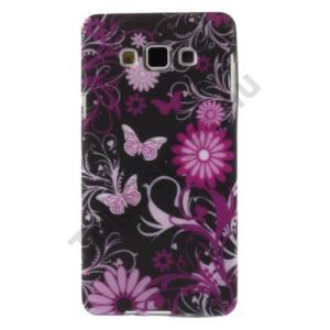 Samsung Galaxy A7 (SM-A700F) Telefonvédő gumi / szilikon (pillangó, virágminta) FEKETE