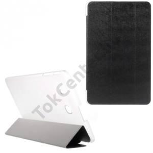 Samsung Galaxy Tab E 9.6 Műanyag telefonvédő (bőr flip, oldalra nyíló, TRIFOLD asztali tartó funkció) FEKETE