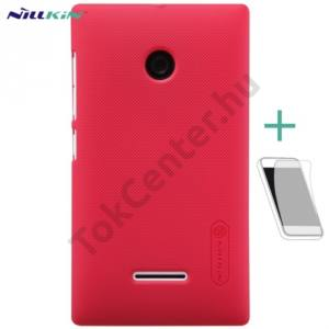 Microsoft Lumia 435 NILLKIN SUPER FROSTED műanyag telefonvédő (gumírozott, érdes felület, képernyővédő fólia, tisztítókendő) PIROS