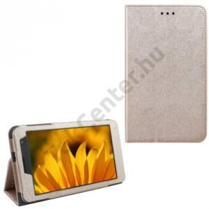 Huawei Mediapad T1 7 Tok álló, bőr (FLIP, oldalra nyíló, asztali tartó funkció) ARANY