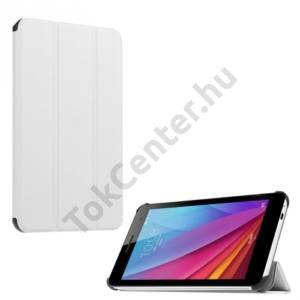Huawei Mediapad T1 7 Tok álló, bőr (FLIP, oldalra nyíló, TRIFOLD asztali tartó funkció) FEHÉR