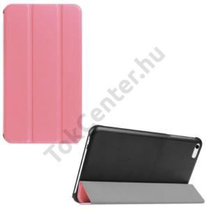 Huawei Mediapad T1 7 Tok álló, bőr (FLIP, oldalra nyíló, TRIFOLD asztali tartó funkció) RÓZSASZÍN