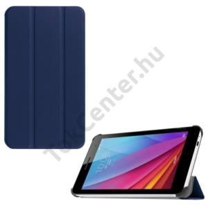 Huawei Mediapad T1 7 Tok álló, bőr (FLIP, oldalra nyíló, TRIFOLD asztali tartó funkció) SÖTÉTKÉK