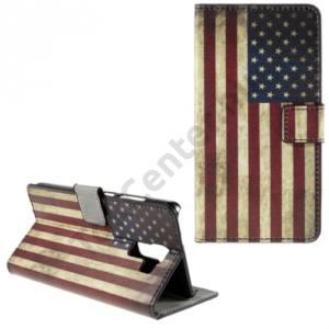 Huawei Honor 7 Tok álló, bőr (FLIP, oldalra nyíló, asztali tartó funkció, zászlóminta) USA