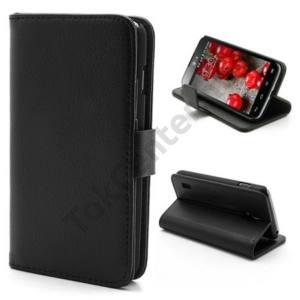 LG Optimus L7 II. dual (P715) Tok álló, bőr (FLIP, mágneses, oldalra nyíló, bankkártya tartó, asztali tartó funkció) FEKETE