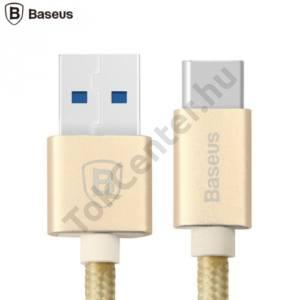 BASEUS adatátvitel adatkábel és töltő (USB Type-C, 1m, cipőfűző minta) ARANY