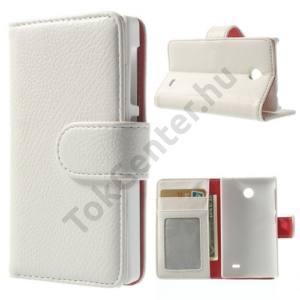 Nokia X Tok álló, bőr (FLIP, mágneses, oldalra nyíló, bankkártya tartó, fényképtartó, asztali tartó funkció) FEHÉR