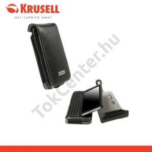 Nokia E7-00 KRUSELL ORBIT FLEX álló bőrtok (övcsipesz) FEKETE/SZÜRKE