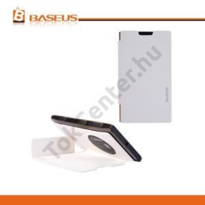 Nokia Lumia 1020 BASEUS tok álló, bőr (FLIP, oldalra nyíló, asztali tartó funkció, kéregminta) FEHÉR