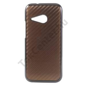 HTC One Mini 2 Műanyag telefonvédő (karbon minta) BARNA