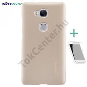 Huawei Honor 5X NILLKIN SUPER FROSTED műanyag telefonvédő (gumírozott, érdes felület, képernyővédő fólia, tisztítókendő) ARANY