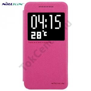 HTC One A9 NILLKIN SPARKLE műanyag telefonvédő (mikroszálas bőr flip, oldalra nyíló, hívószámkijelzés, S-View Cover) MAGENTA