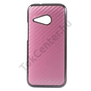 HTC One Mini 2 Műanyag telefonvédő (karbon minta) MAGENTA