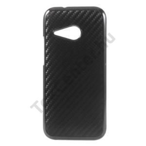 HTC One Mini 2 Műanyag telefonvédő (karbon minta) FEKETE