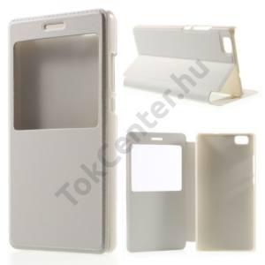 Huawei P8 lite Tok álló, bőr (FLIP, oldalra nyíló, asztali tartó funkció, View Window) FEHÉR