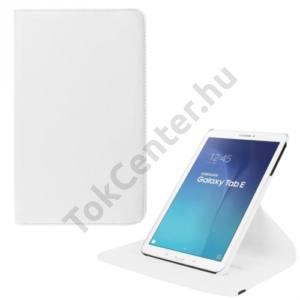 Samsung Galaxy Tab E 9.6 Tok álló, bőr (FLIP, asztali tartó funkció, 360°-ban forgatható) FEHÉR