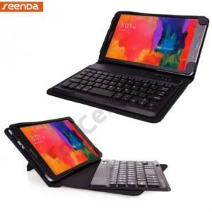 Samsung Galaxy Tab Pro 8.4 3G (SM-T321) SEENDA tok álló, bőr (FLIP, BLUETOOTH billentyűzet, asztali tartó, QWERTY, angol nyelvű) FEKETE