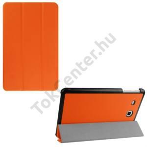 Samsung Galaxy Tab E 9.6 Tok álló, bőr (FLIP, TRIFOLD asztali tartó funkció) NARANCS