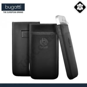 LG G2 (D802) BUGATTI PURE PREMIUM álló tok, valódi bőr (gumis kihúzó, PRÉMIUM minőség, bankkártya/névjegykártya tartó) FEKETE