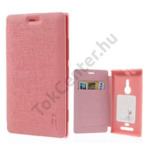 Nokia Lumia 925 Műanyag telefonvédő (bőr flip, bankkártya tartó) RÓZSASZÍN
