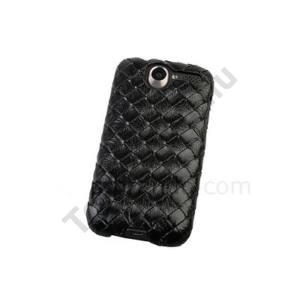 HTC Desire (Bravo Műanyag telefonvédő (bőr hátlap, fonott mintás) FEKETE