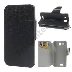 Alcatel Idol Ultra (OT-6033) Tok álló, bőr (FLIP, mágneses, oldalra nyíló, bankkártya tartó, asztali tartó funkció, selyem hatás) FEKETE