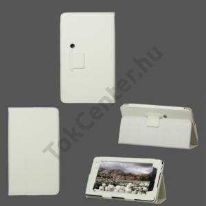 Huawei Ideos S7 Slim Tok álló, bőr (FLIP, REJTETT mágneses, asztali tartó funkció) FEHÉR