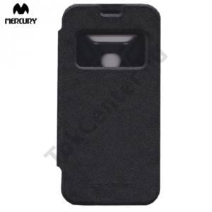 LG G5 (H850) MERCURY Wow Bumper tok álló, bőr (FLIP, oldalra nyíló, S-View cover, textilminta) FEKETE
