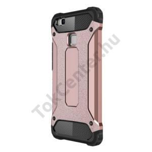 Huawei P9 lite Defender műanyag telefonvédő (közepesen ütésálló, gumi / szilikon belső, fémhatás) ROZÉARANY